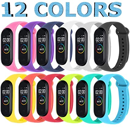Sopear 12 Piezas Correas Xiaomi Mi Band 3/4 Pulseras Reloj Silicona Banda para XIAOMI Mi Band 3 / Mi Smart Band 4 Reemplazo - 12 Colores