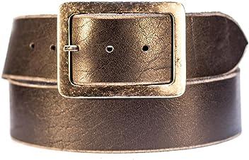 Eg-Fashion Herren Jeansgürtel aus 100% Büffelleder Gürtel mit stylischer Schnalle im Used Look
