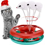 Cat Interactive Toys Roller Catch Ball 2 in 1 Pet Kitten Fun Toy with Teaser Mouse Great for Cat Entertainment, Training…