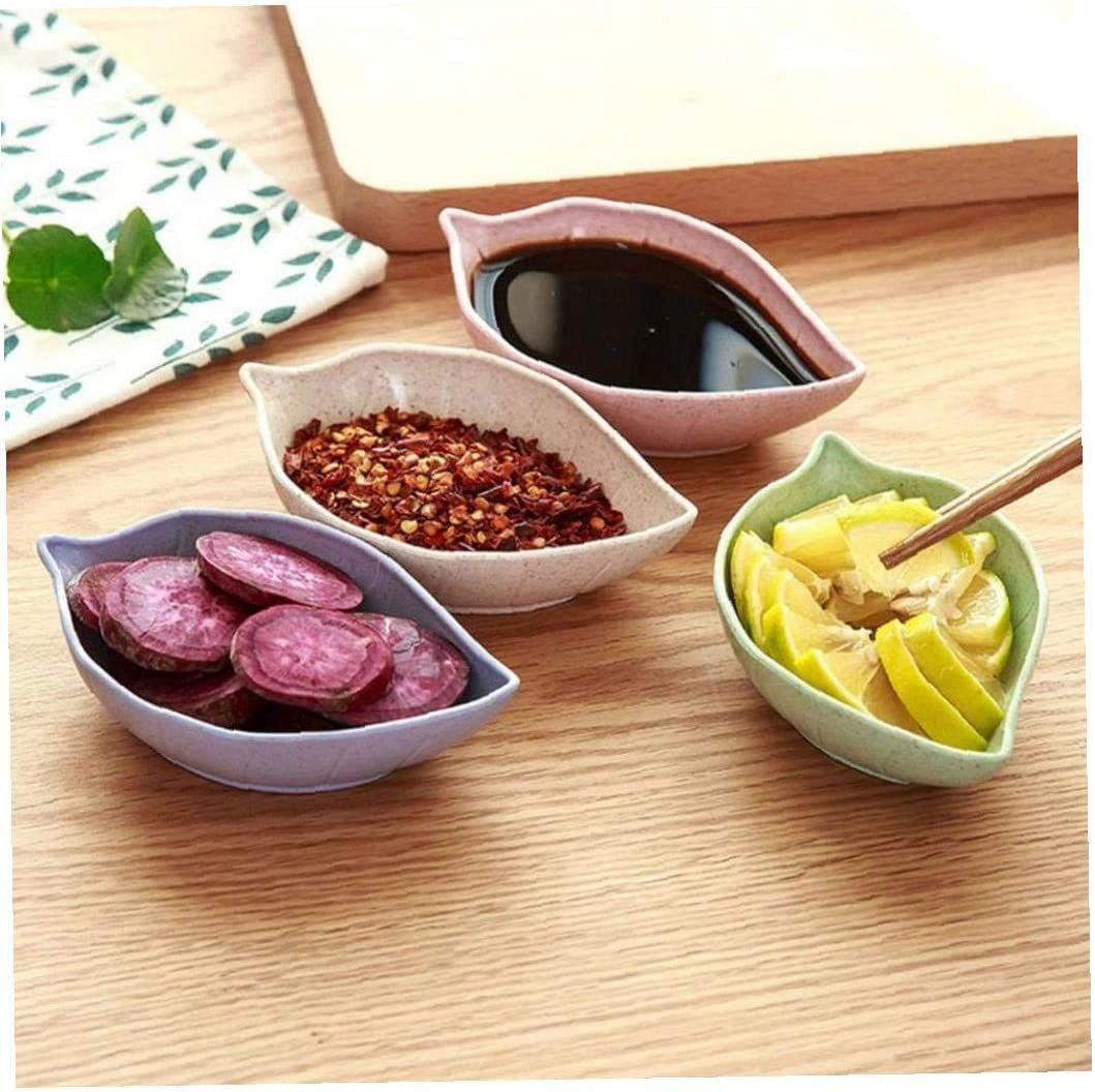 Casecover 4 Pcs//set Sauce Dish Leaf-shape Small Soy Sauce Dipping Bowl Seasoning Saucers Appetizer Plates for Vinegar Salad Soy Sauce Wasabi Random Color