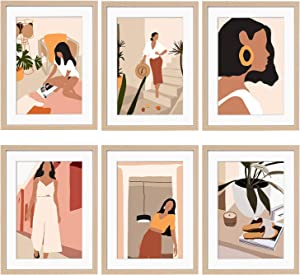 ArtbyHannah 6 Pack 12 x16 Framed Wall Art Minimalist Line Wall Art Decor Modern Abstract Woman's Body Shape Picture Frame Collage Set Aesthetic Art Posters Print Artwork for Home Bedroom Decoration