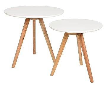 Ts Ideen 2er Set Design Beistelltische Walnuss Rund Weiß Kaffeetisch  Couchtisch Nachttisch