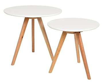 Ts Ideen 2er Set Design Beistelltische Walnuss Rund Weiss Kaffeetisch