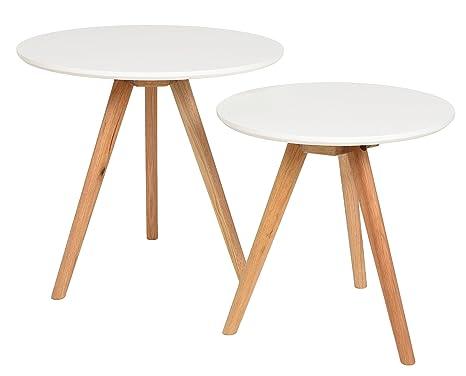 ts-ideen 2er Set Design Beistelltische Walnuss rund weiß Kaffeetisch  Couchtisch Nachttisch