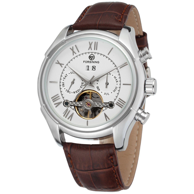 FORSININGメンズ自動日カレンダー高級レザーバンドドレス手首腕時計fsg583 m3s2 B014UQH9NK