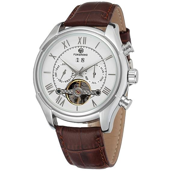 Reloj automático de muñeca para hombre con correa de piel y calendario, marca Forsining.: Amazon.es: Relojes