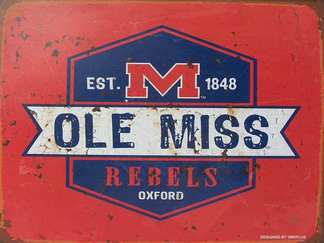 "Anjoes TIN Sign Ole Miss Rebels College Mississippi Retro Rustic Metal Decor 12"" x 16"""