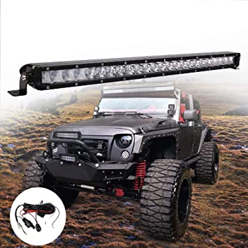 "Single Row 32/"" LED Work Light Bar Offroad Truck For Jeep SUV Driving Slim Combo"