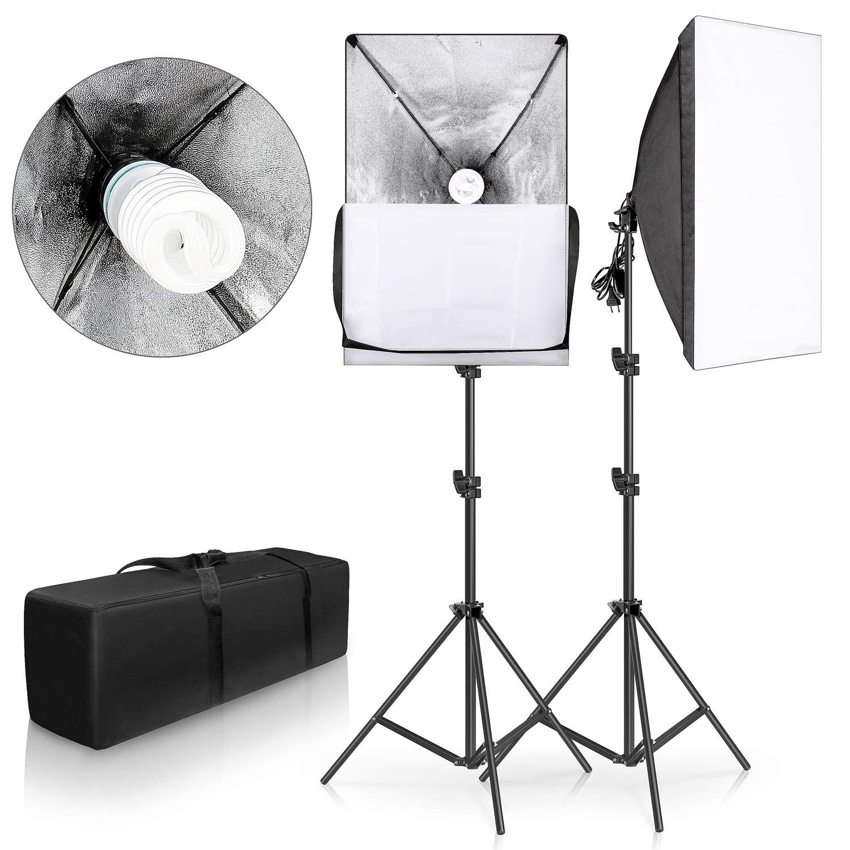 SH 2Set 20''X28'' Softbox Photography Lighting Kit 135W Continuous Lighting System Photo Studio Equipment Photo Model Portraits Shooting Box E27 Video Lighting Bulb