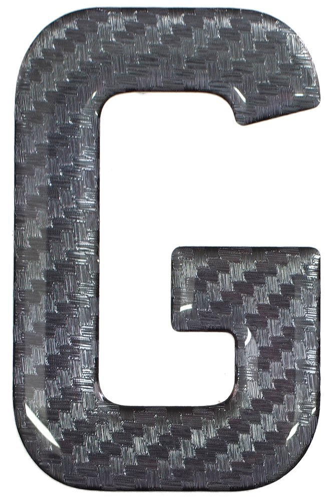 3D Resin//Gel Domed Self Adhesive Number Plate Letter G Carbon