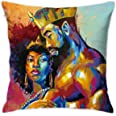 SARA NELL Velvet Throw Black Love Pillow Cases,African American King&Queen Couple Oil Painting,Pillow Covers Afro Black Coupl