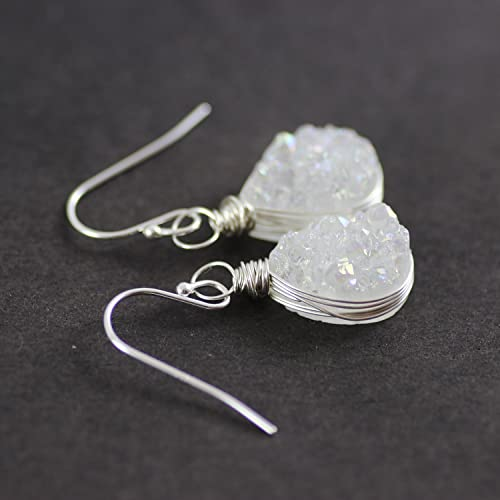 c1efd4d10 Amazon.com: White Druzy Sterling Silver Teardrop Earrings: Handmade