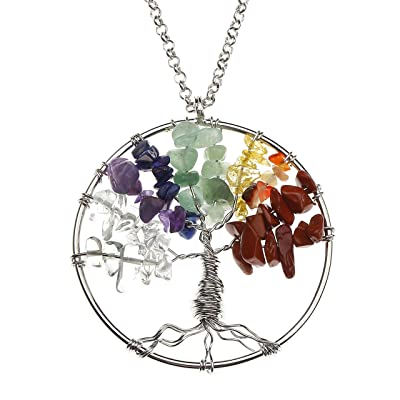 1 Pc Life Tree Seven Chakras Necklace Adjustable Chain Women Jewelry Charms