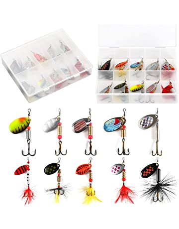 Yoshikawa Fishing Tackle Bag /& 60pcs Lure Set Spinners Spoon Plugs Shad Popper Crankbaits in 5 Boxes
