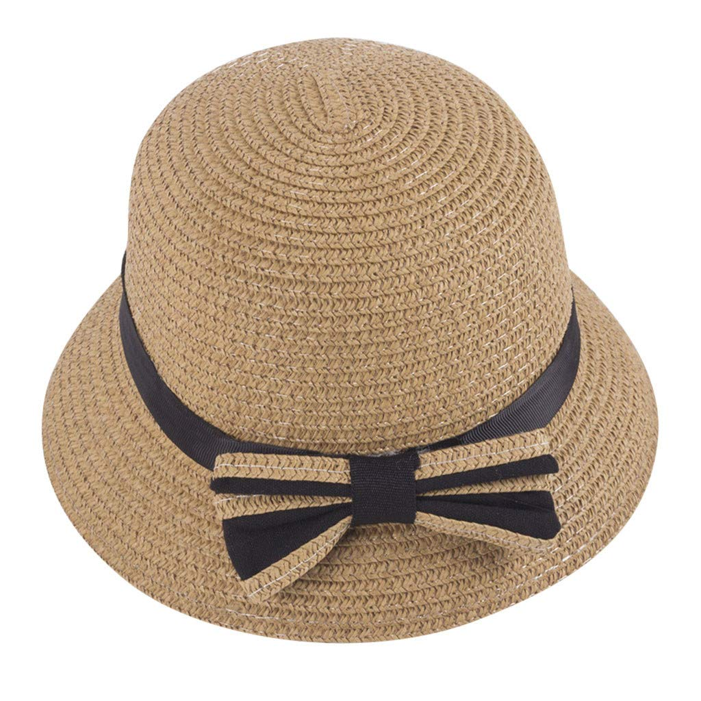 Toponly Kids Summer Straw Boater Hat Bowknot Beach Sun Protection Hats for Girls Boys 3-5 Years Brown
