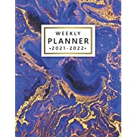 Image for 2021-2022 Weekly Planner: Pretty Two Year (24 Months) Organizer & Agenda with Weekly Spread View - 2-Year Diary & Schedule Calendar with To-Do's, Vision Boards & More - Deep Blue & Gold Acrylic Marble