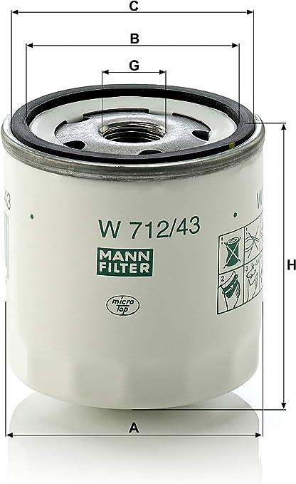 Original Mann Filter W 712 43 Schmierölwechselfilter Für Pkw Auto