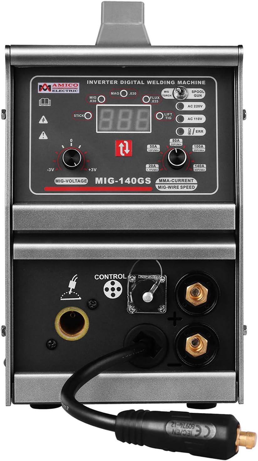 Lift-TIG Amico MIG-140GS 140 Amp MIG MAG Flux-cored 110V /& 230V Dual Voltage Welding Compatible Spool Gun: SPG15180 /& SPG15250 Stick Arc Welder