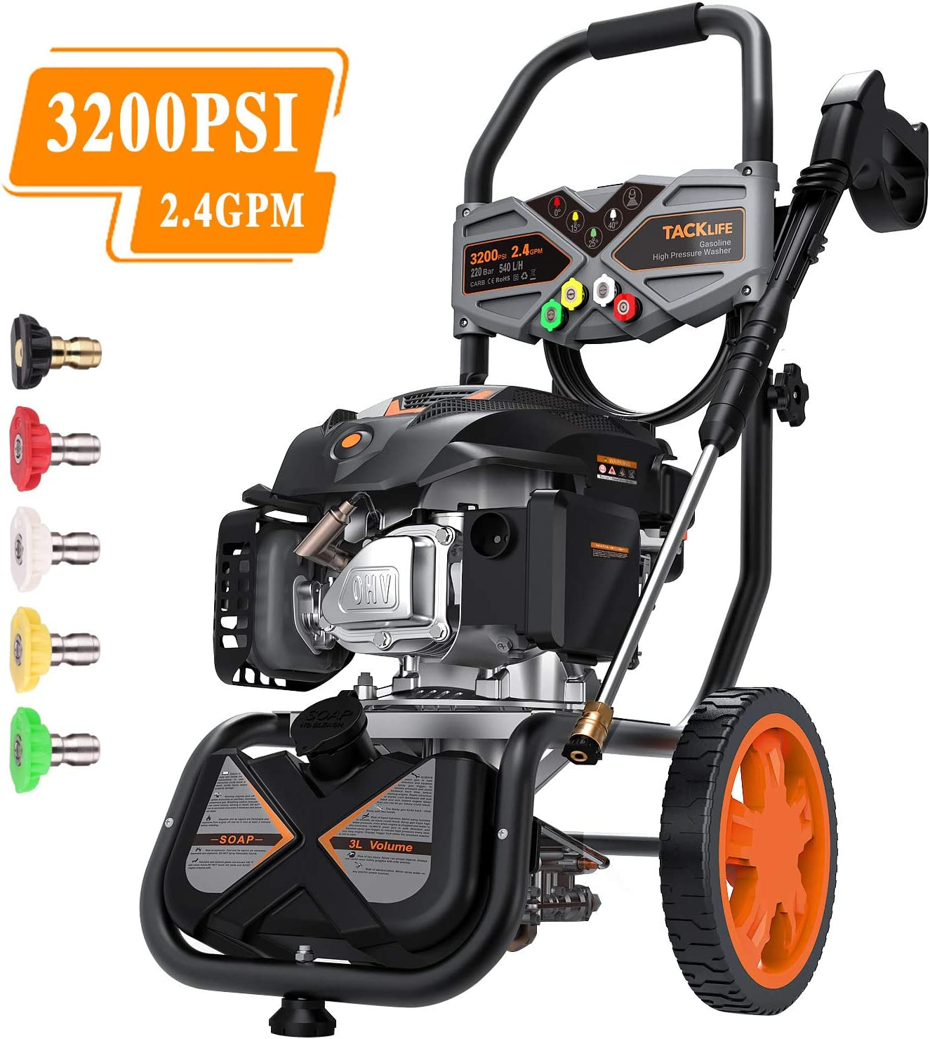 TACKLIFE Gas Pressure Washer 3200PSI at 2.4GPM 6.5 Peak HP, 5 Nozzles, 25FT Hose, Easy Move, Multiple Accessories, Excellent Powered Pressure Washer for Vehicle, Garden, Yard, Ground-GSH01B
