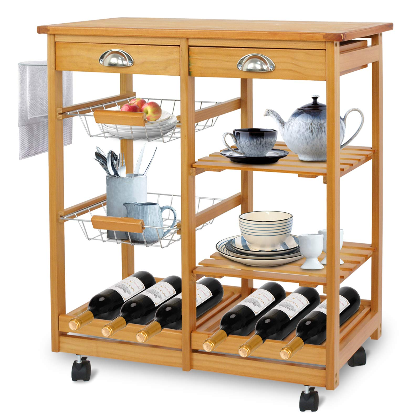 SUPER DEAL Multi-Purpose Wood Rolling Kitchen Island Trolley w/Drawer Shelves Basket by SUPER DEAL