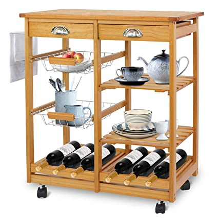 Amazon.com   SUPER DEAL Multi Purpose Wood Rolling Kitchen Island Trolley  W/Drawer Shelves Basket   Kitchen Islands U0026 Carts