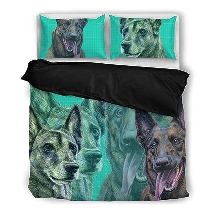 Malinois belga (Malinois perro) impresión juego de ropa de cama, diseño de perro