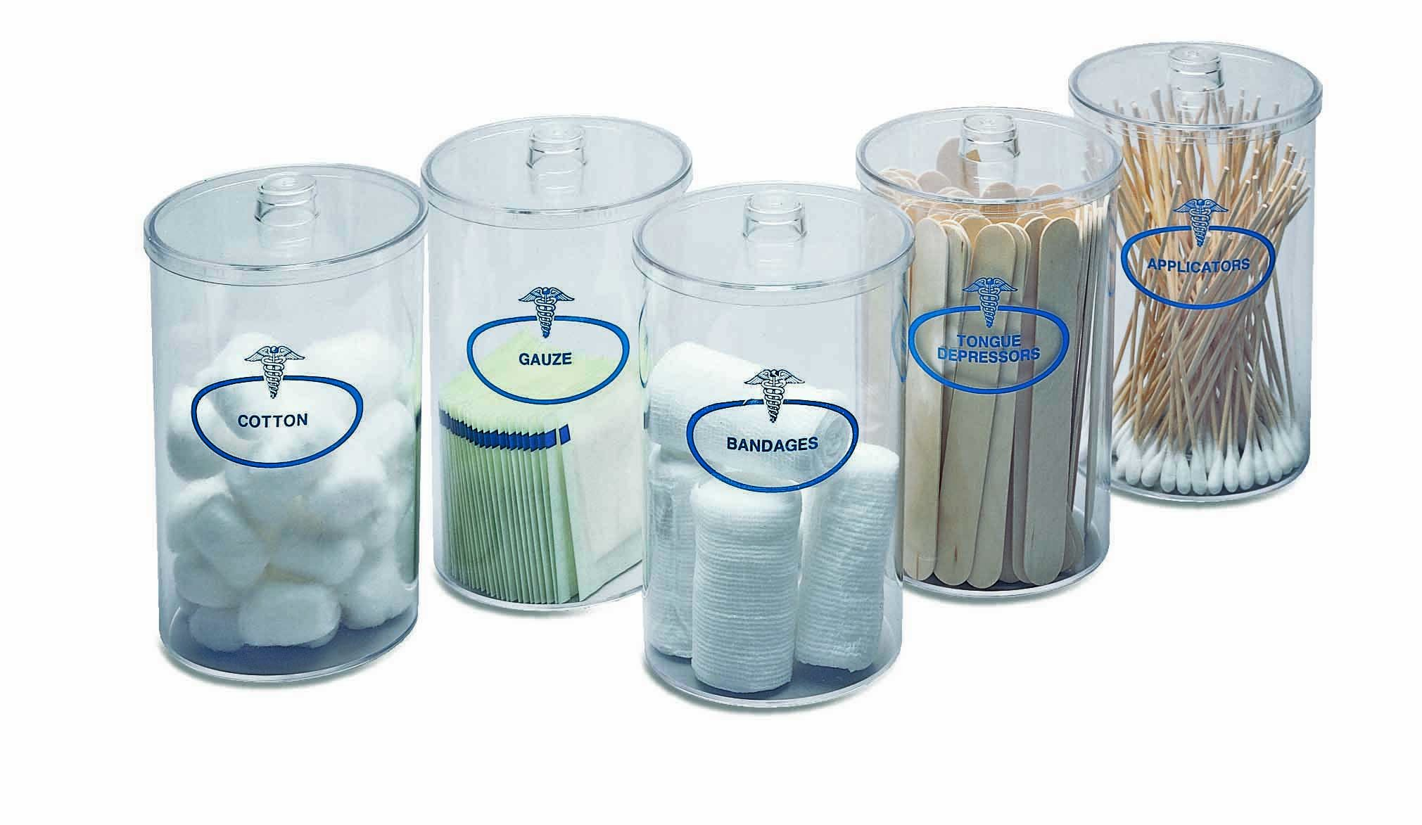 Clear Sundry Jars, Labeled, Set of 5 each