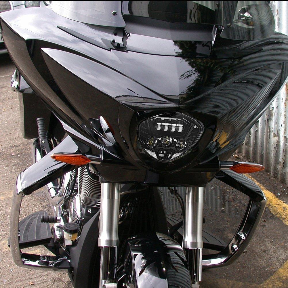SUPAREE LED Phare Avant 17 CM 60 W 12 V pour Harley Davidson VRSCA V-Rod VRod 2002-2016 NOIR