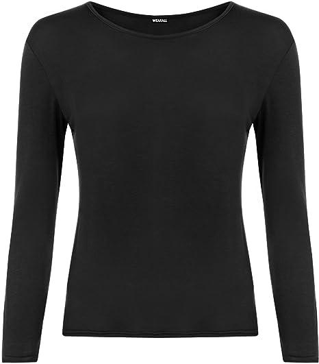 5c786e211465 WearAll Women's Plus Size Long Sleeve T-Shirt Ladies Stretch Plain Top -  Black -