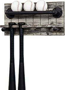 MyGift Rustic Torched Wood and Black Industrial Metal Pipe Wall Mounted Hanging Baseball and Bat Holder Storage Display Rack