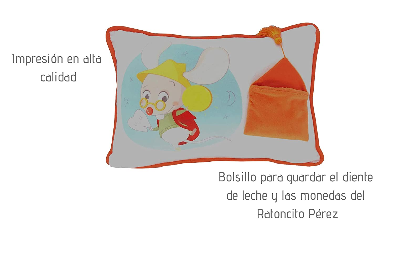ALMOHADA CON BOLSILLO PARA GUARDAR EL DIENTE DE LECHE Y LAS MONEDAS DEEL RATONCITO P/ÉREZ