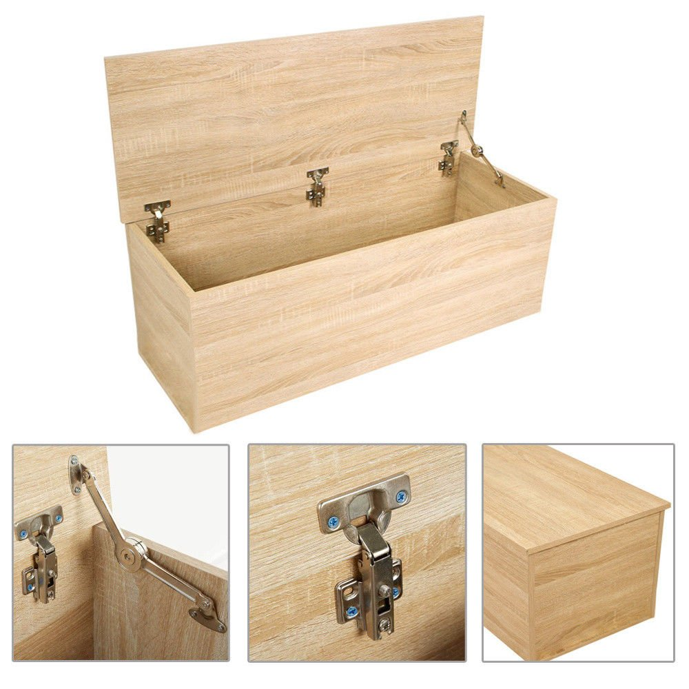 Generic ttoman W Chest Bench Ottoman Wo Storage Box Large Large Ottoman Wooden Storage Bedding Trunk Cabinet Lid COLOR:RANDOM net Lid Seat Toy runk Cabinet Lid