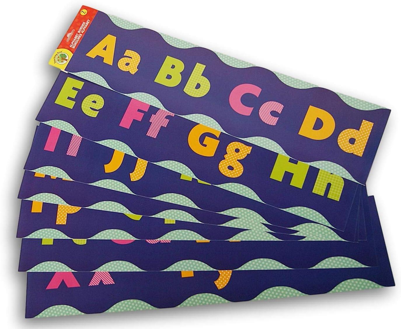 Teaching Tree Classroom Decor Alphabet Wall Border - 7 Piece (Blue Wave)