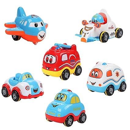 Coches de juguete para bebé de Samidy para niños de 0 a 2 años (paquete de 6)