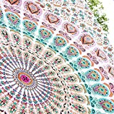Handmade Mandala Tapestry Hippie Bedspread Bohemian Bedding Peacock 54 X 84 Inches (Twin Size) White