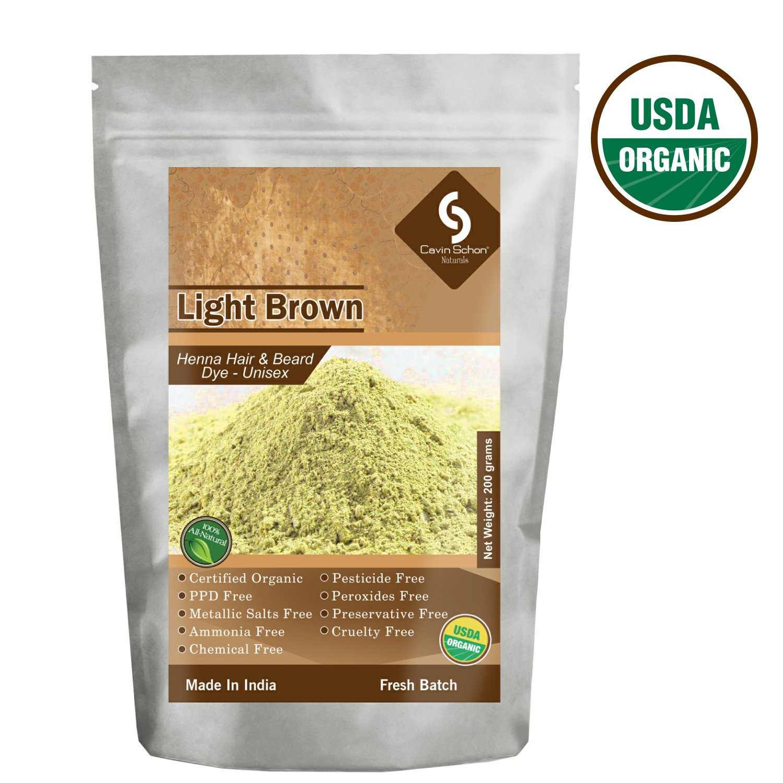 Cavin Schon USDA Certified Organic Light Brown Henna - 100% Natural/Organic & Chemical Free Hair color/dye