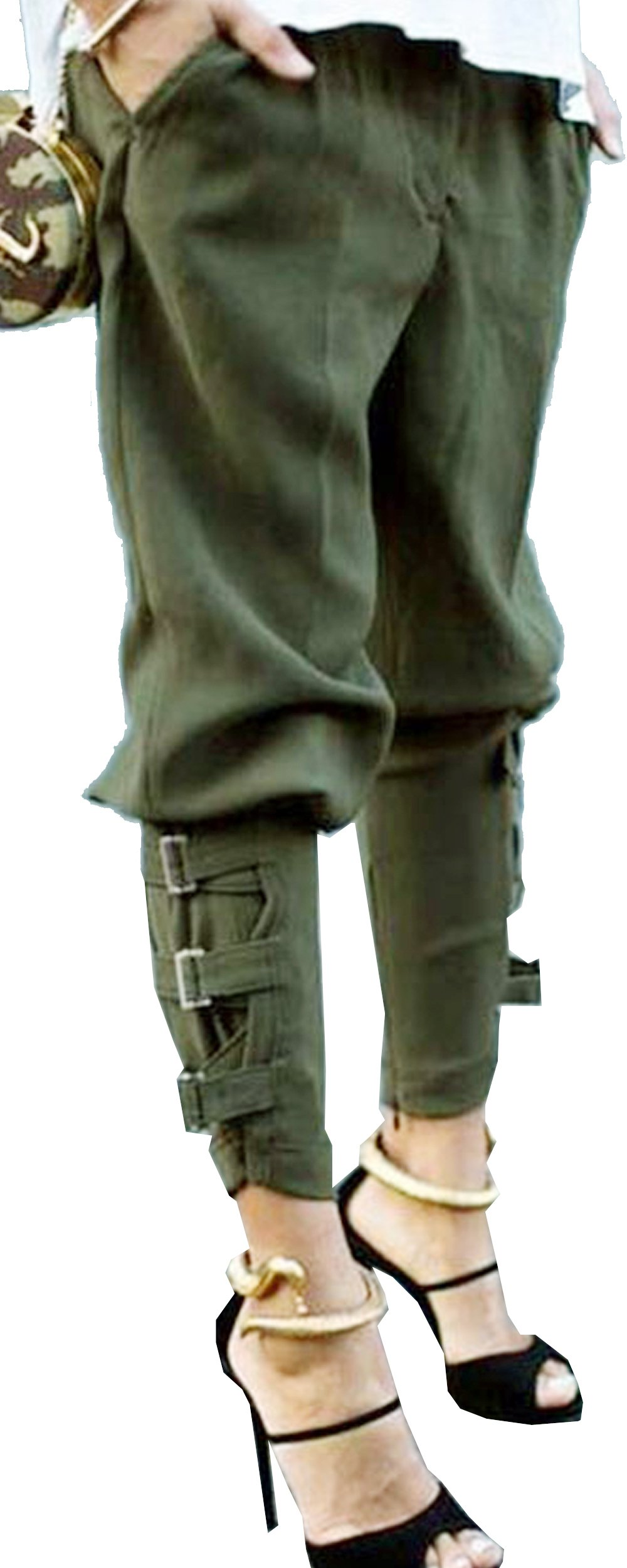 Aishang Women's Plus Size Elastic Waist Harem Pocket Steampunk Cropped Pants 3