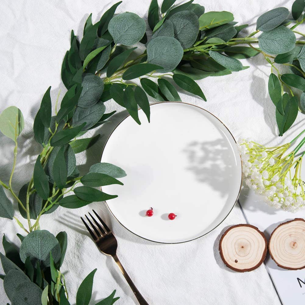 TOPHOUSE 2Pcs 6.2 Feet Artificial Silver Dollar Eucalyptus Leaves Garland with Willow Vines Twigs Leaves String for Doorways Greenery Garland Table Runner Garland Indoor Outdoor.
