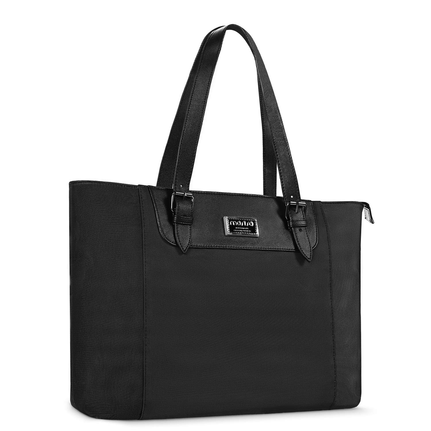 MOSISO Laptop Tote Bag (Compatible 15.6-17 Inch MacBook & Notebook), Water Repellent Multi-Pocket Large Capacity Business Work Briefcase Handbag with Adjustable Strap & Padded Compartment, Black