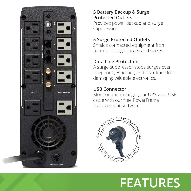 bXterra 1500VA UPS BM1500AVRLCD Intelligent LCD UPS Battery Backup, 10 Outlets, AVR, Easy Access Replaceable Battery, RJ11/RJ45/Coax, Contoured Design, Mini-Tower by bXterra (Image #3)