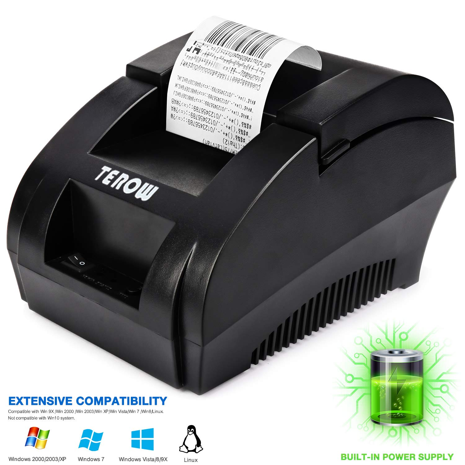 USB Thermal Receipt Printer TEROW 58mm Mini Small Portable Label Printer  with High Speed Printing Compatible with ESC/POS Print Commands Set, Easy  to