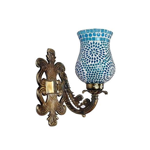 Amazon.com: Lalhaveli - Lámpara de pared de cristal turquesa ...