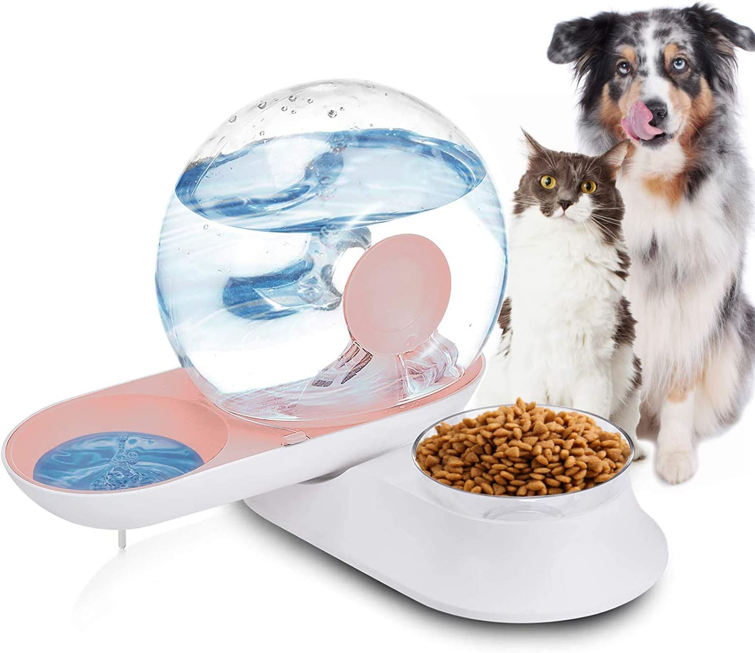 Lucky-M Double Dog Cat Water and Food Bowl Set, Detachable Transparent Bowl Automatic Water Dispenser Snail-Shaped Bottle Pet Feeder for Small Medium Size Dog Cat 2.8L (Pink)