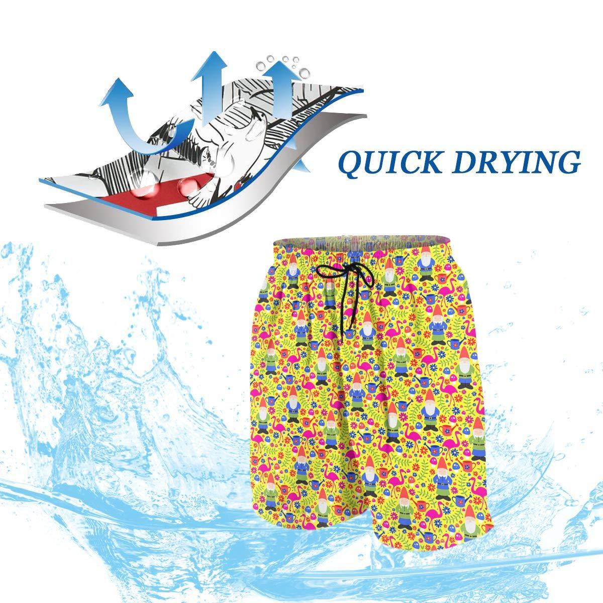 Chrismas Santa Flamingo Flower Woodland Yellow Teen Swim Trunks Bathing Suit Shorts Board Beach