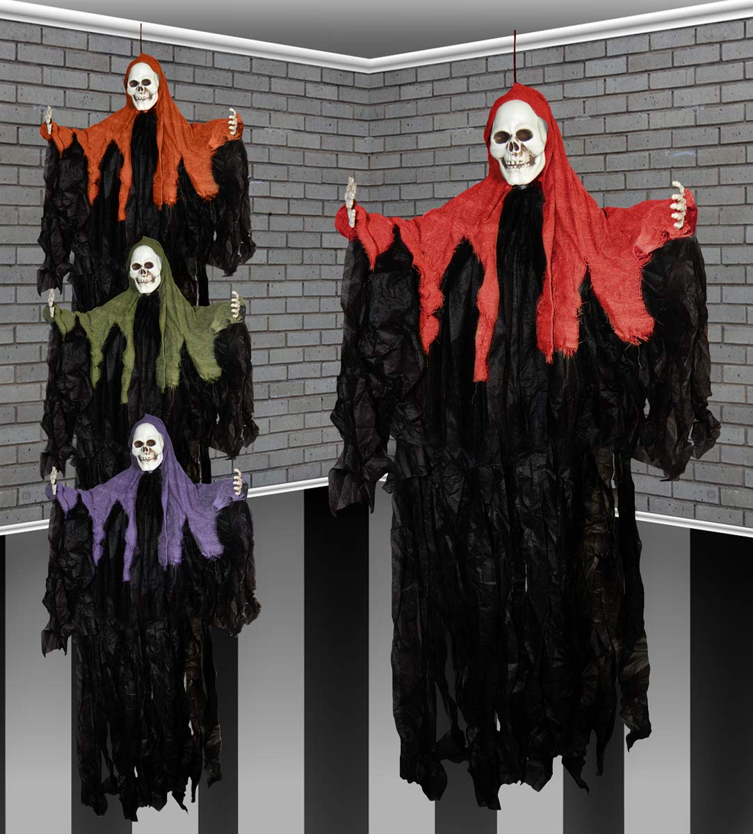 46 Inch Halloween Hooded Gothic Ghost Skeleton Hanging Party Decoration Davies Products Ltd