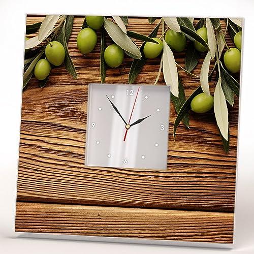 Rama Olivo Verde Reloj De Pared Madera Espejo Enmarcado Impresa Arte ...