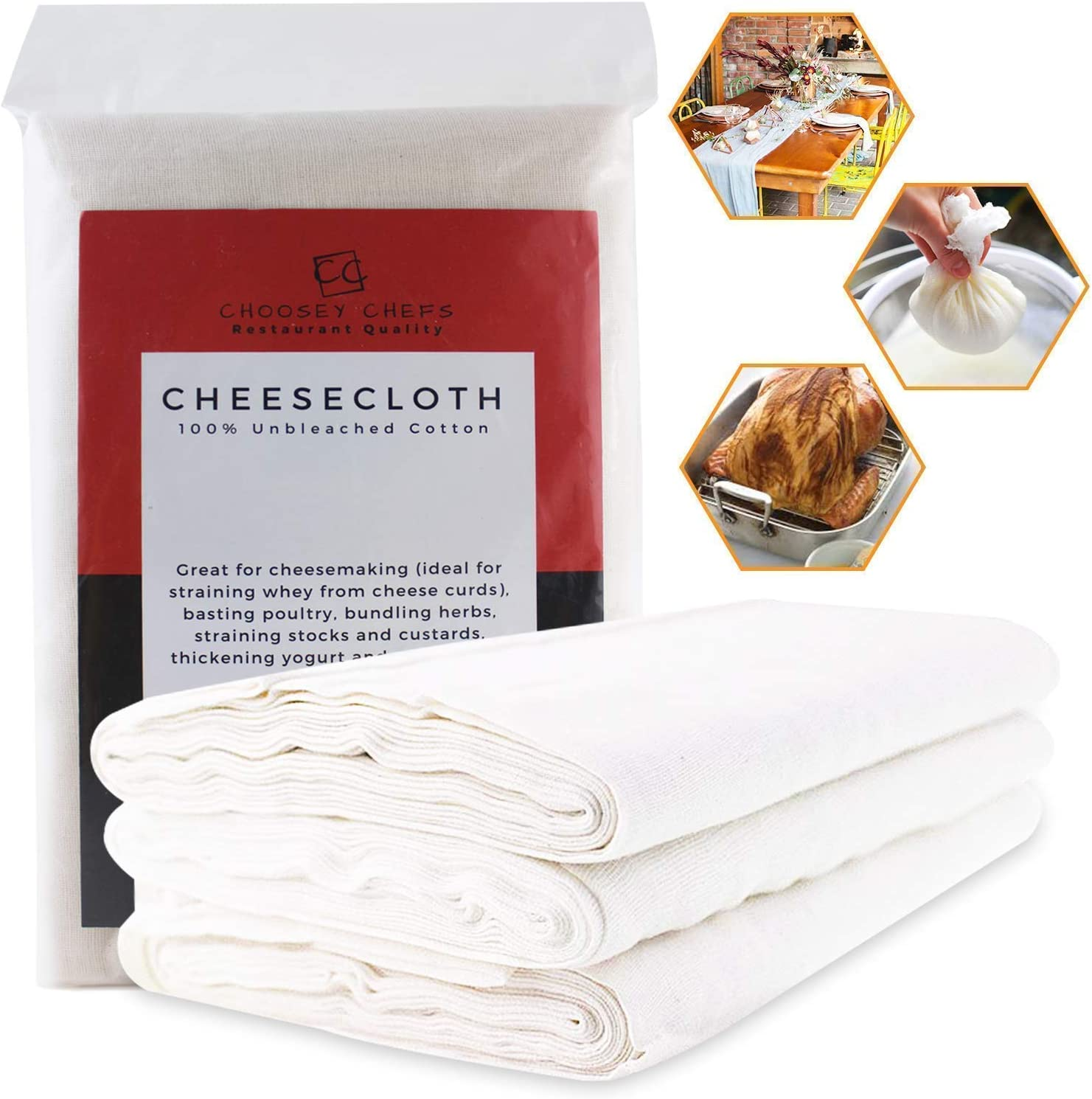 Unbleached Cheesecloth, 36 sq. ft, Grade 90, Reusable, Super Fine Cheese Cloth for Straining - Jamming - Preserving Foods - Cheesemaking - Decorating