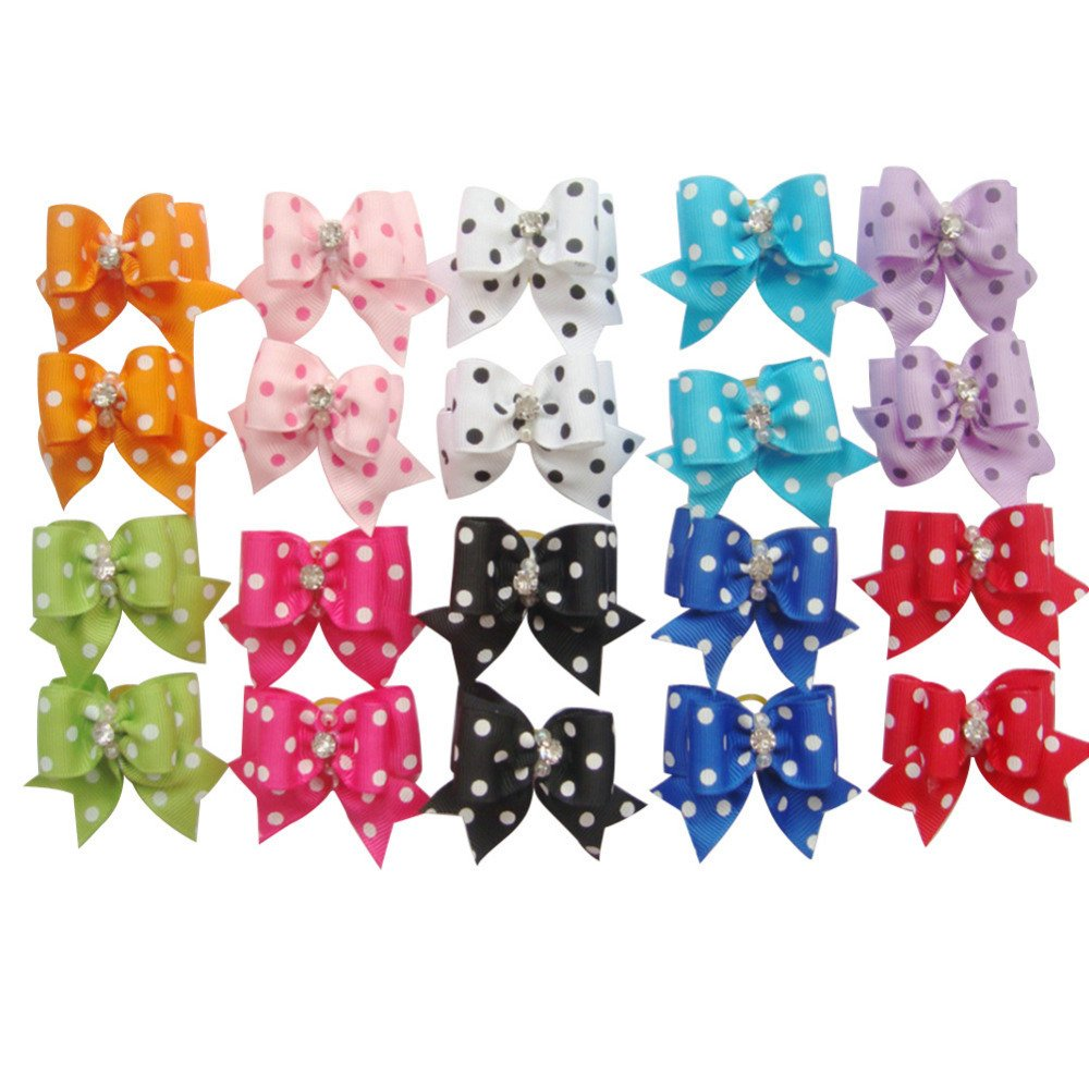 PET SHOW Dot Rhinestone Pet Dog Hair Bows W/Rubber Bands Cat Puppy Grooming Accessories Assorted Color Assorted Pack of 100 by PET SHOW