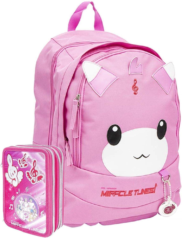 Schoolpack Schulrucksack Miracle Tunes Julie Rund Poppun Komplettes Federmäppchen Mit 3 Reißverschlüssen Amazon De Koffer Rucksäcke Taschen