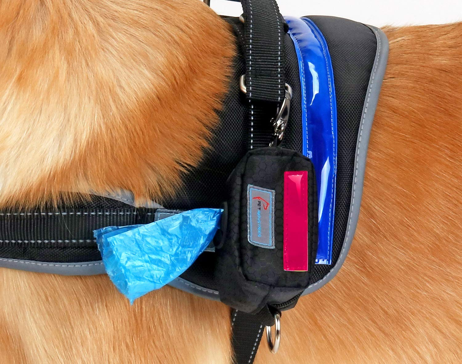 Pet Indutries Dog Poop Bag Holder Dispenser Zippered Pouch /& Carabiner Clip for Easy Carry and Velcro Leash Attachment Strap Pet Industries Reflective Strip Heavy-Duty Waterproof Material